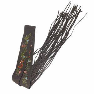 """Boho Belt embroidered suede fringe tie Size 30"""""""